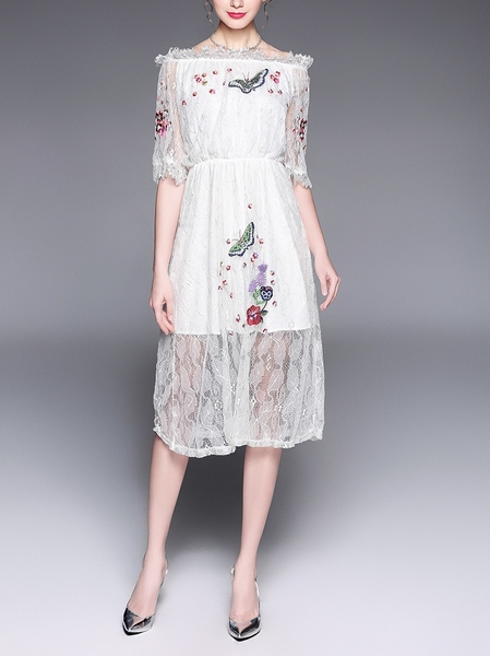 Butterfly Embroidery Lace Midi Dress