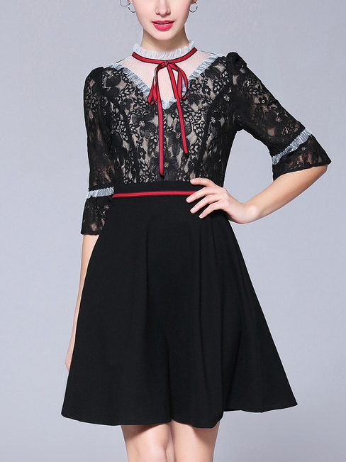 Red Bow Black Lace Dress