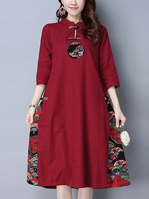 (M-2XL) Kalika Motif Cotton Linen Midi Qipao Dress