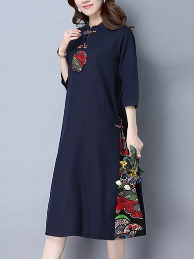 (M-2XL) Kalika Motif Cotton Linen Midi Qipao Dress (3 Colour)
