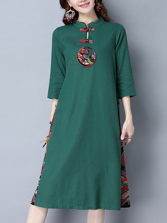 (M-2XL) Kalika Motif Cotton Linen Midi Qipao Dress (Green)