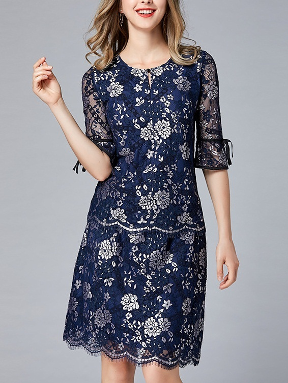 [SET] Micayla Navy and Silver Lace Blouse and Skirt Set