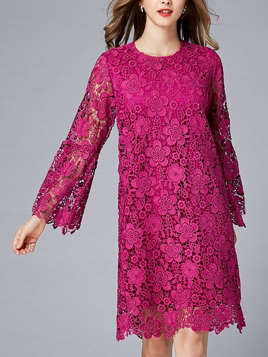 Michael Magenta Crochet Lace Bell Sleeve Dress