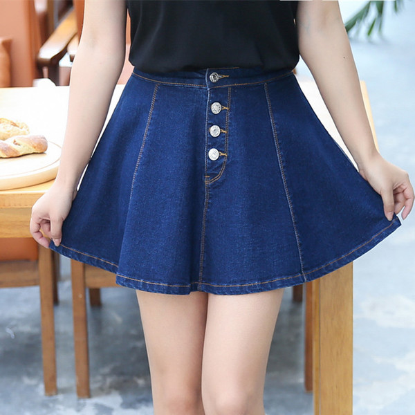 Denim Swing Shorts-Skirts