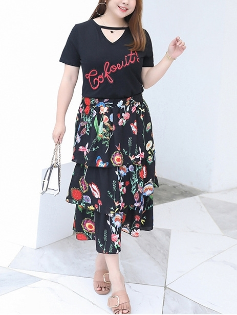 Top and Midi Floral Skirt Set