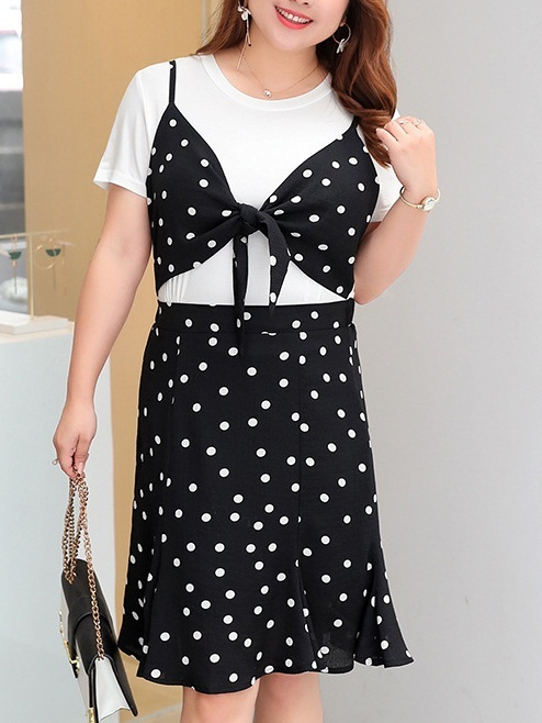 Migdalia Polka Dot Mock Crop Top Dress