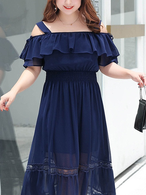 Mikala Off Shoulder Lace Trim Midi Dress
