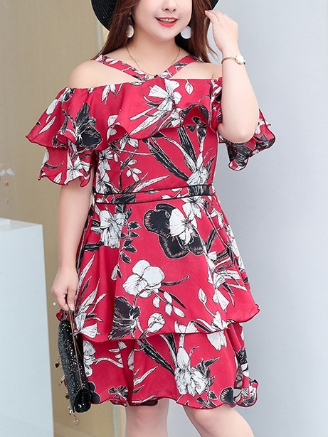 Mikako Floral Halter Off Shoulder Dress