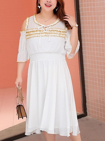 Mikaila Off Shoulder Dress (XL-4XL)
