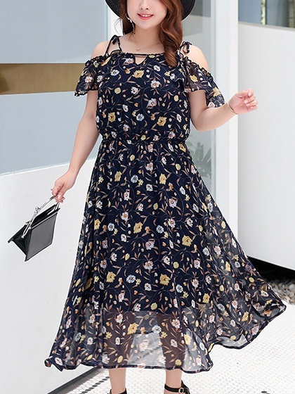 Mikalyn Strappy Floral Off Shoulder Midi Dress