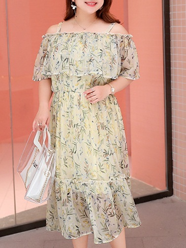 Mikan Floral Off Shoulder Midi Dress