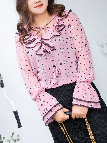 Dogs Print Frill L/s Blouse with Inner Tank Top