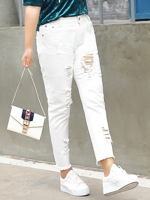 White Ripped Denim Jeans