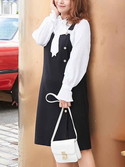 Black Button Pinafore Dress / White Shirt Blouse