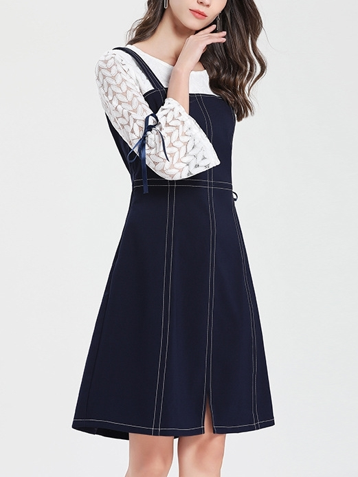 Mock 2 Piece Pinafore Style Dress