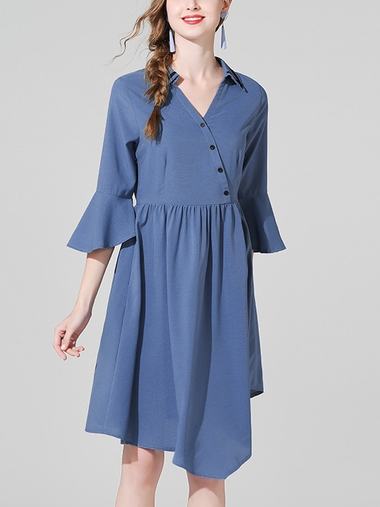 Bell Sleeve Bias Blue Shirt Dress
