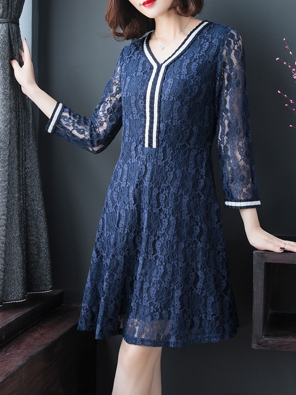 Blue Trim Lace Dress