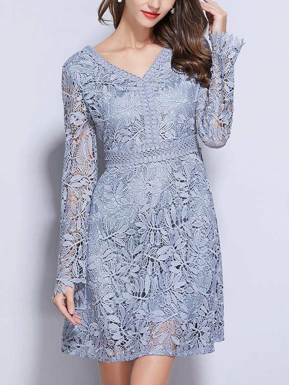 Pastel Blue Crochet Lace Dress