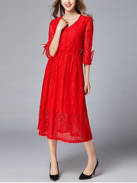 Red Ribbon Sleeve Lace Midi Dress