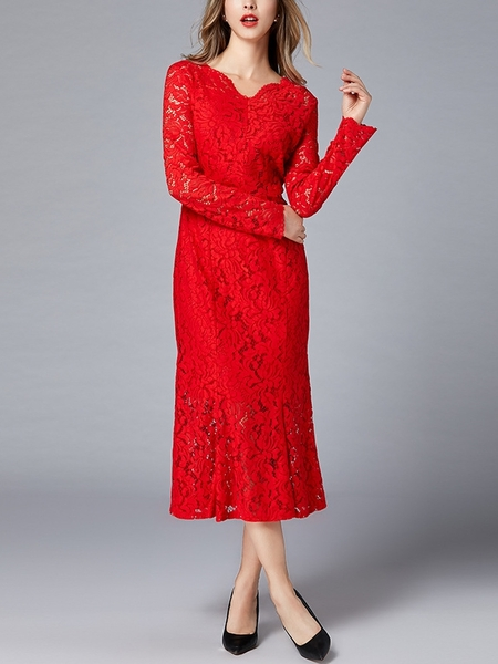 Red Fitted Mermaid Midi Lace Dress