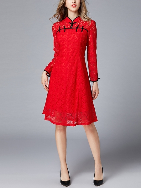 Red Swing Lace Qipao Dress