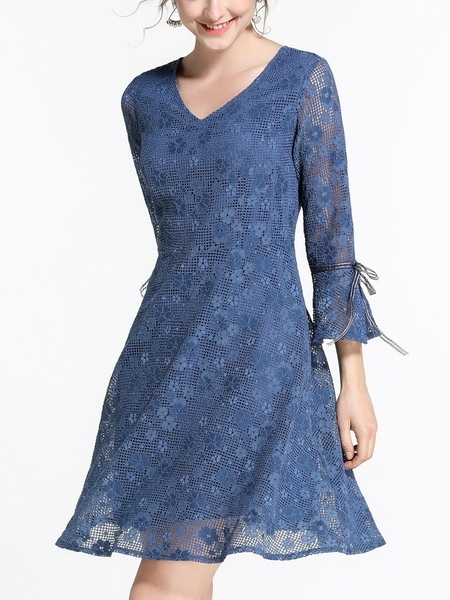 Blue Lace Bell Sleeve Dress