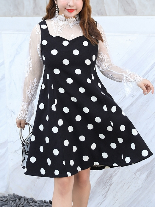 [DEAL] Lace L/s Top and Sweetheart Polka Dot Dress Set
