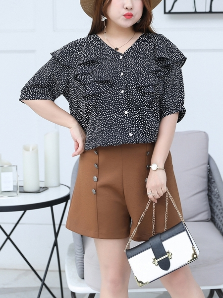 Dots Frill Tie Blouse