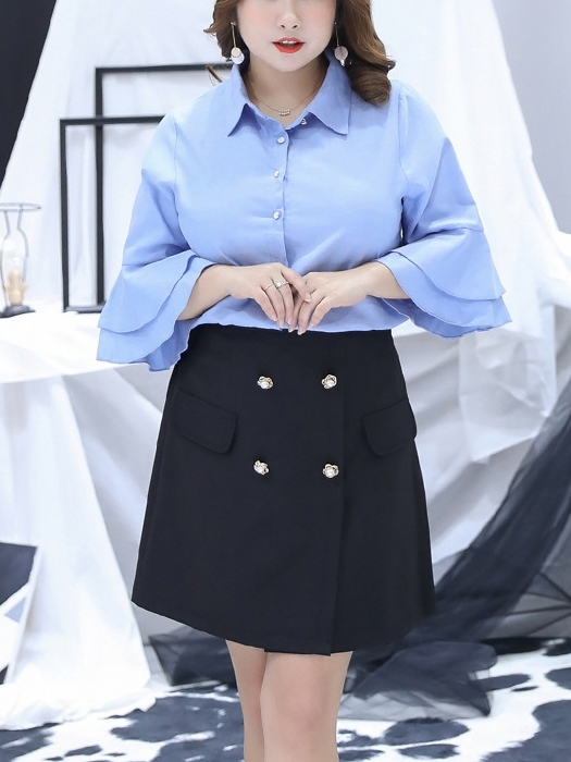 Bell Sleeve Shirt Blouse