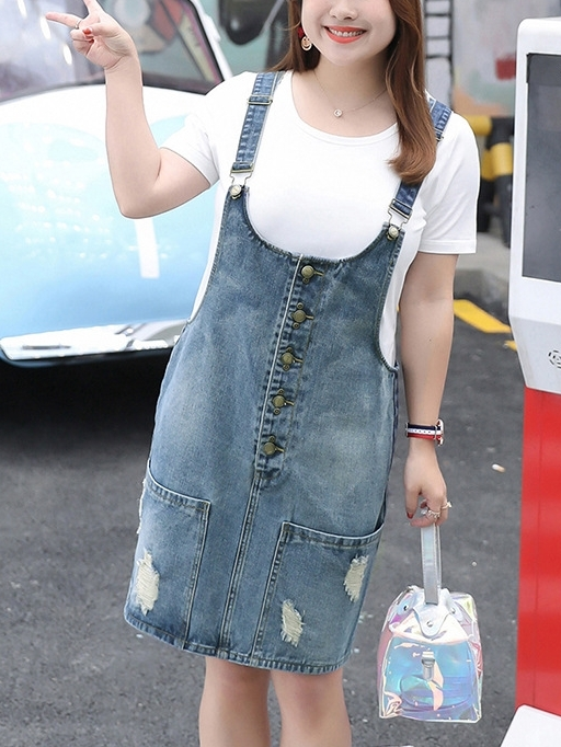 Distressed Pocket Denim Dungaree Dress