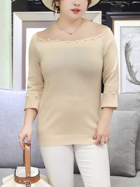 Off Shoulder Knit Pearl Top