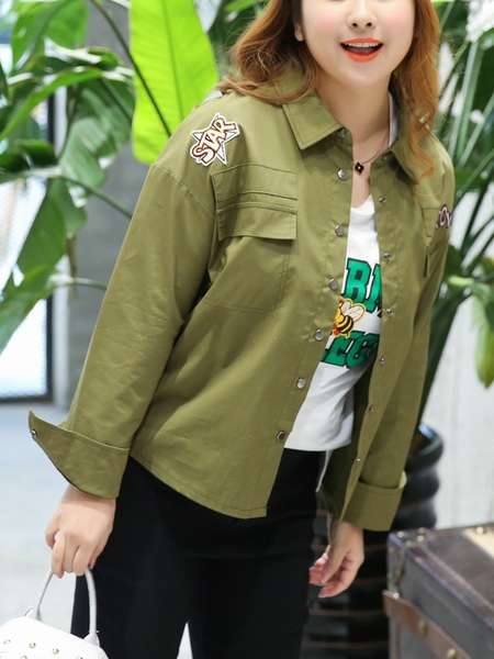Army Patch Shirt Jacket