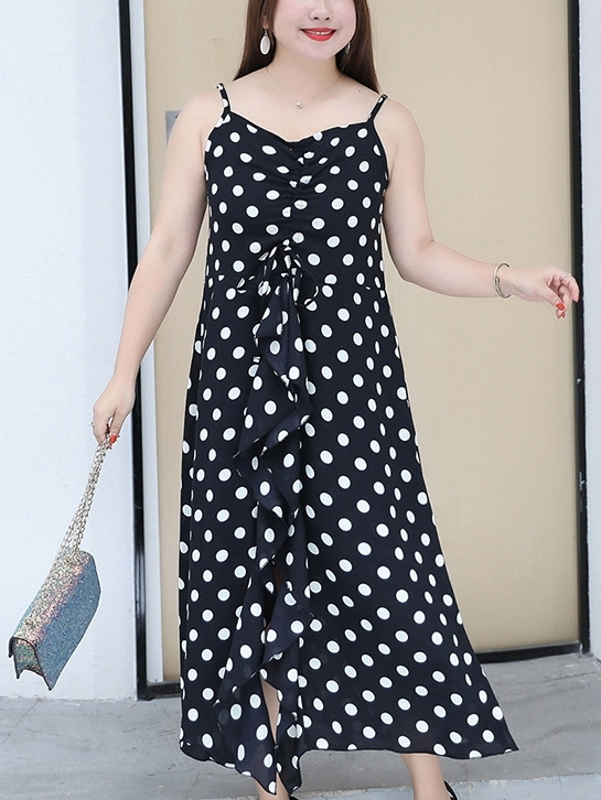 Scrunch Polka Dots Midi Dress