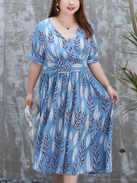 Blue Floral Wrap Midi Dress
