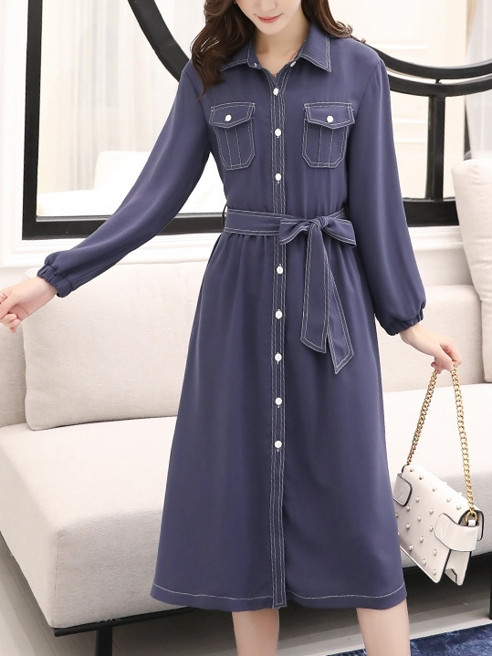 Stitch Midi L/S Shirt Dress