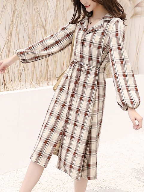 Checks Button Shirt Dress