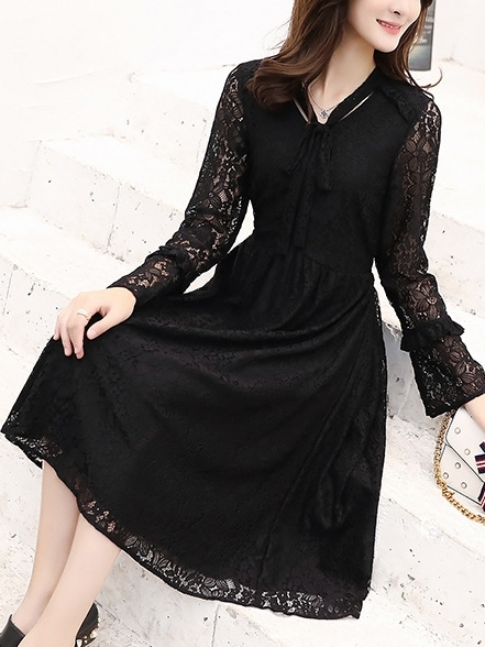 Lace Bow Tie Dress