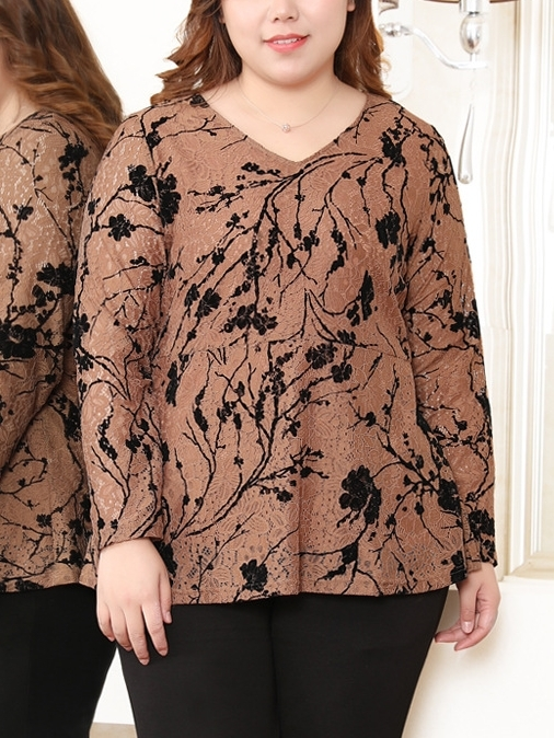 Lace V-neck Top (EXTRA BIG SIZE)