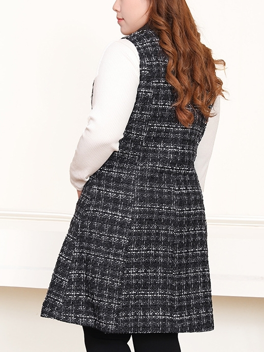 Tweed Checks Vest Blazer (EXTRA BIG SIZE)