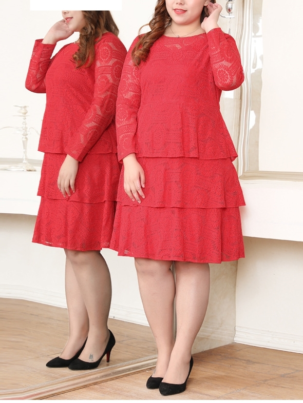 Red Tier Lace Dress (EXTRA BIG SIZE)