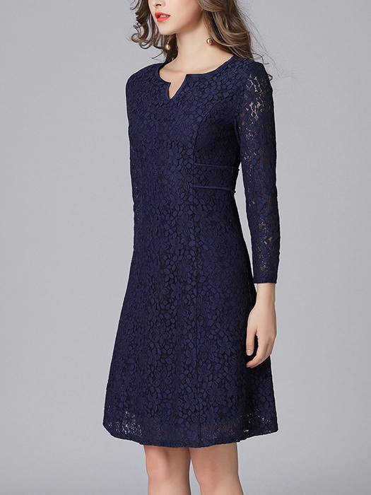 (XL*1 PC Ready Stock, All Other Sizes Preorder) Maesen V-neck Navy Lace Dress