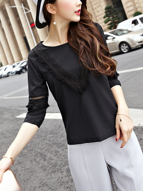 (XL-5XL Ready Stock) Fringe V Blouse (Black)
