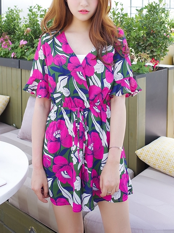 (5XL*1 Ready Stock, All Other Sizes Preorder) Wrap Belle Flora Romper (EXTRA BIG!)