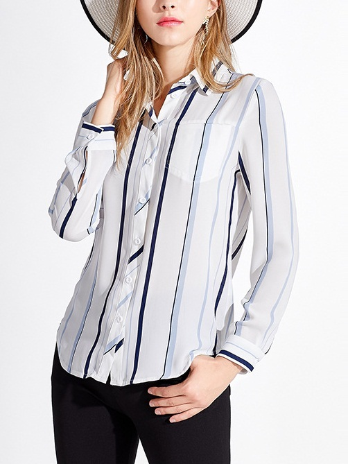 (2XL*1 Ready Stock, All Other Sizes Preorder)  Madalie Blue Layer Stripe Shirt Blouse