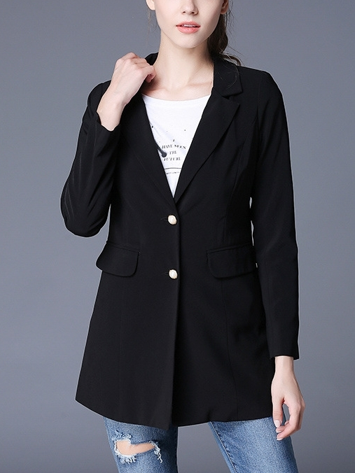 (3XL*1 Ready Stock, All Other Sizes Preorder) Black Double-button Blazer