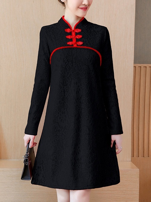 Millenia Long Sleeve Qipao Dress