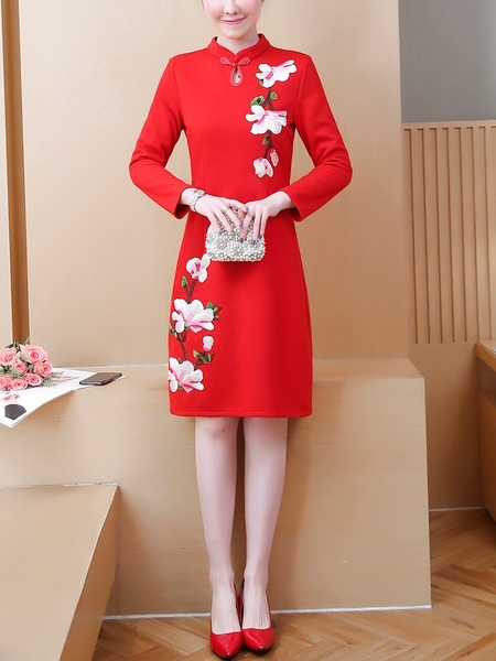 Millay Floral Embroidery Qipao Dress