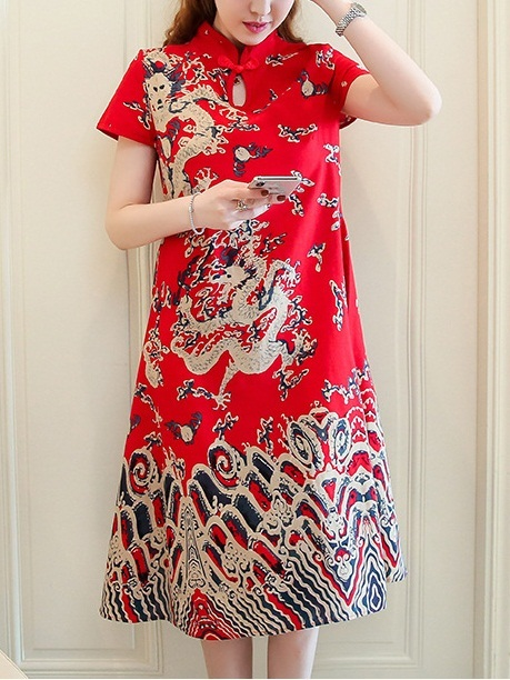 Milica Pattern Qipao Dress