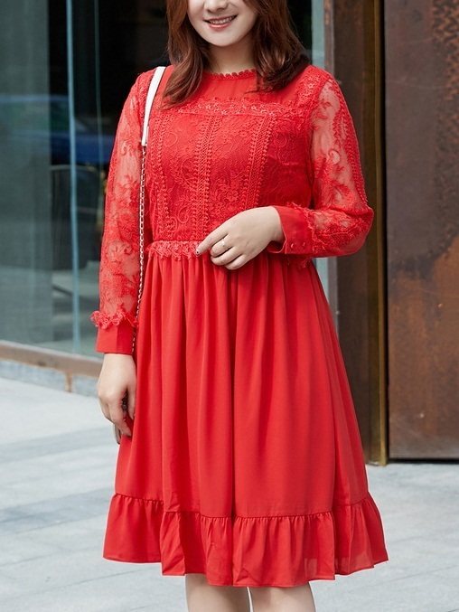 Mili Red Lace Panel Dress