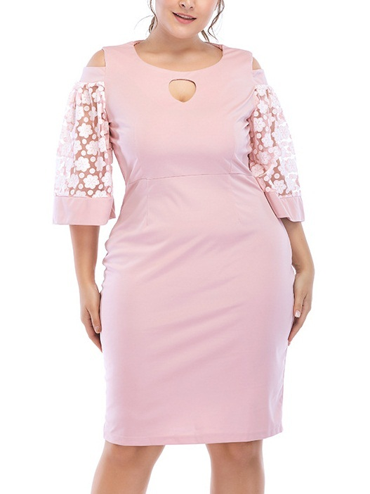 Milcah Pink Keyhole Off Shoulder Dress